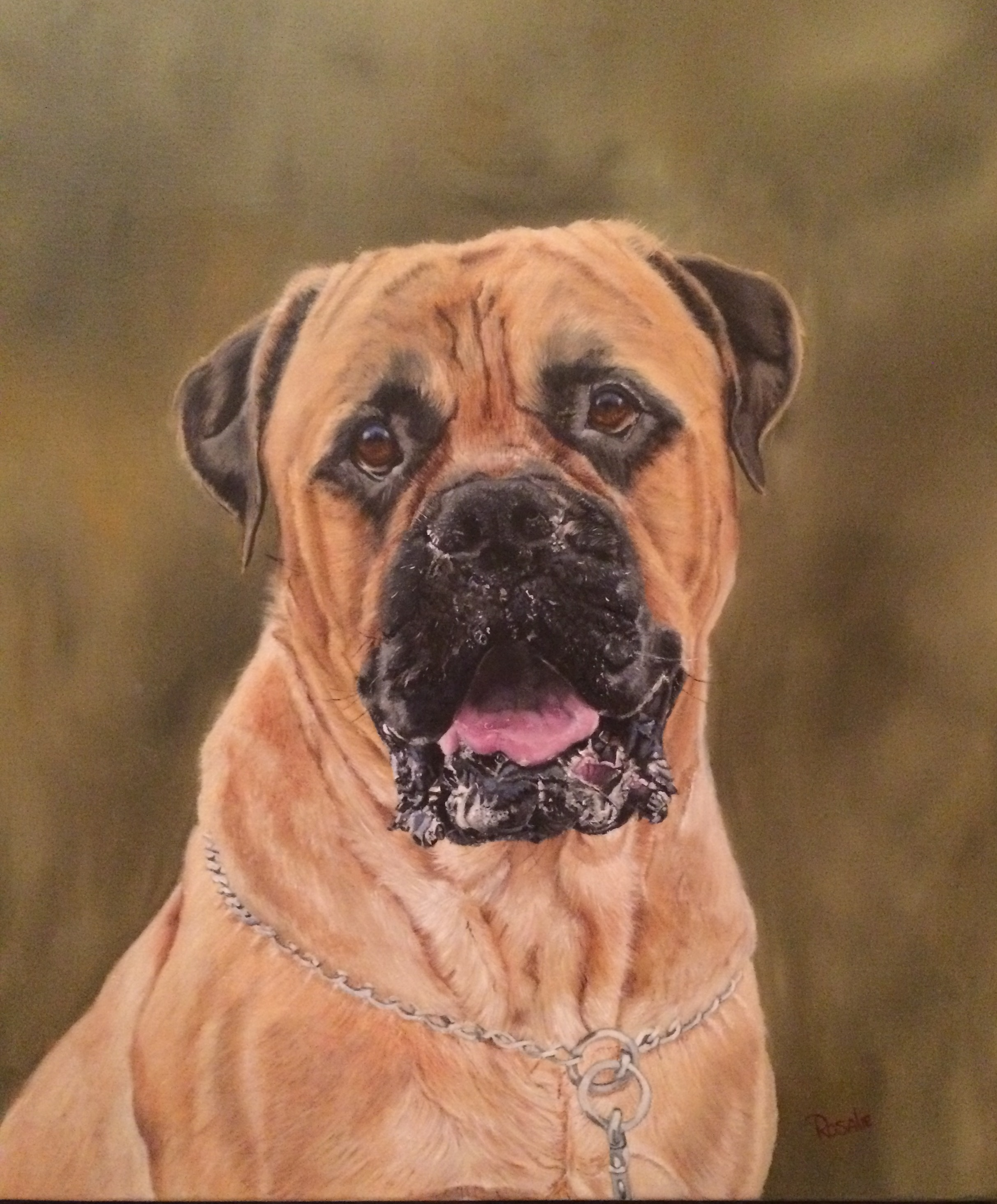 Tyson - Bullmastiff Oil Painting