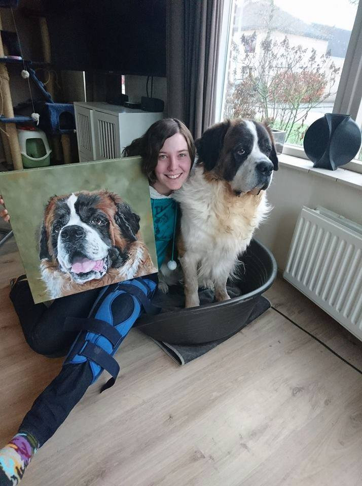 st bernard oil painting