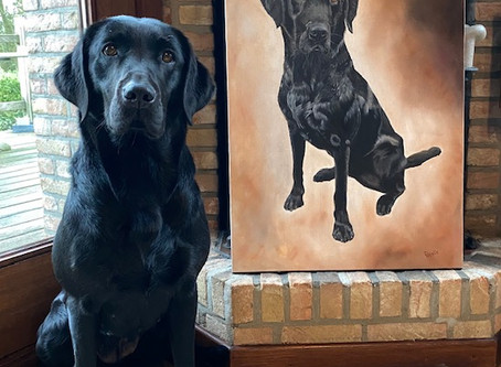 The Pet portrait in oils of Tipper