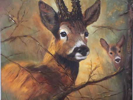 Momma Deer and her Bambi off the easel
