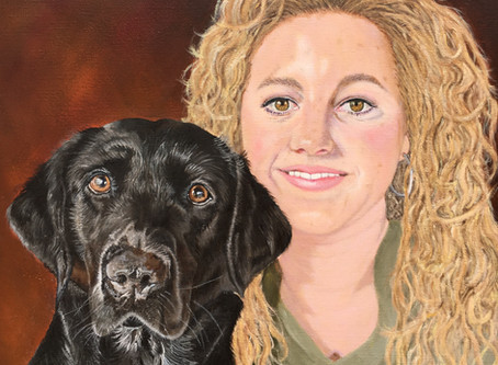 Pet portrait in oils off the easel