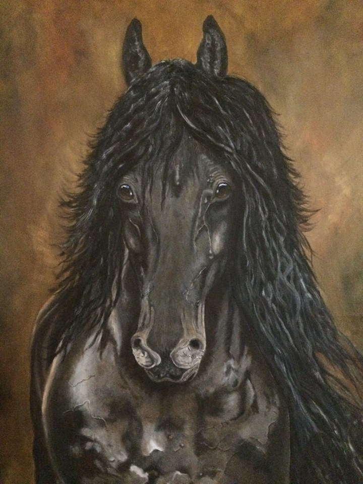 Friesian horse oil painting