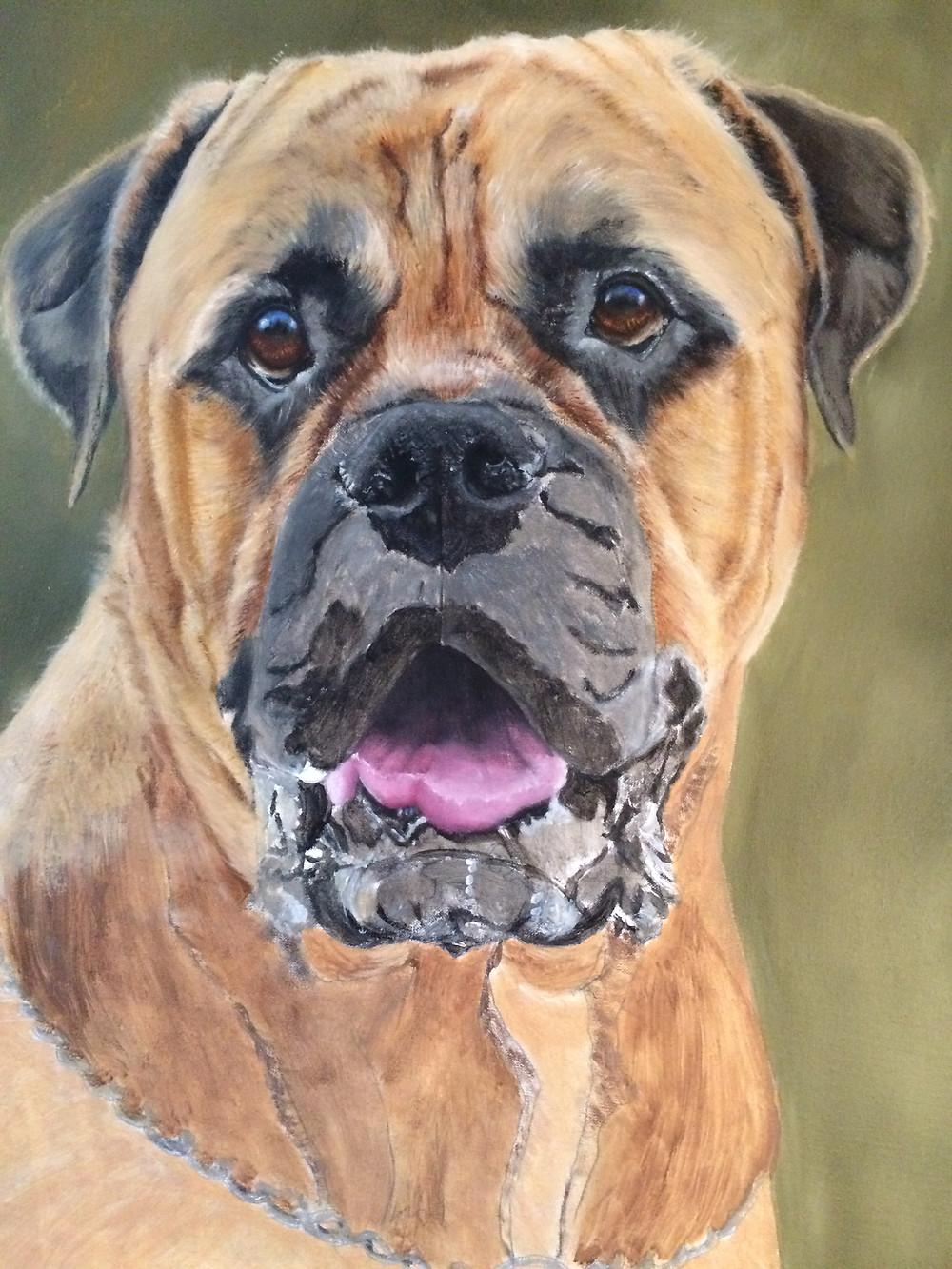Bullmastiff oil painting work in progress