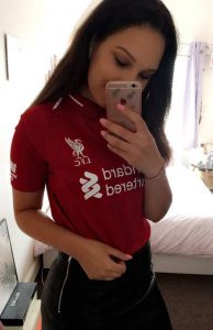 Me wearing a LFC top for the final