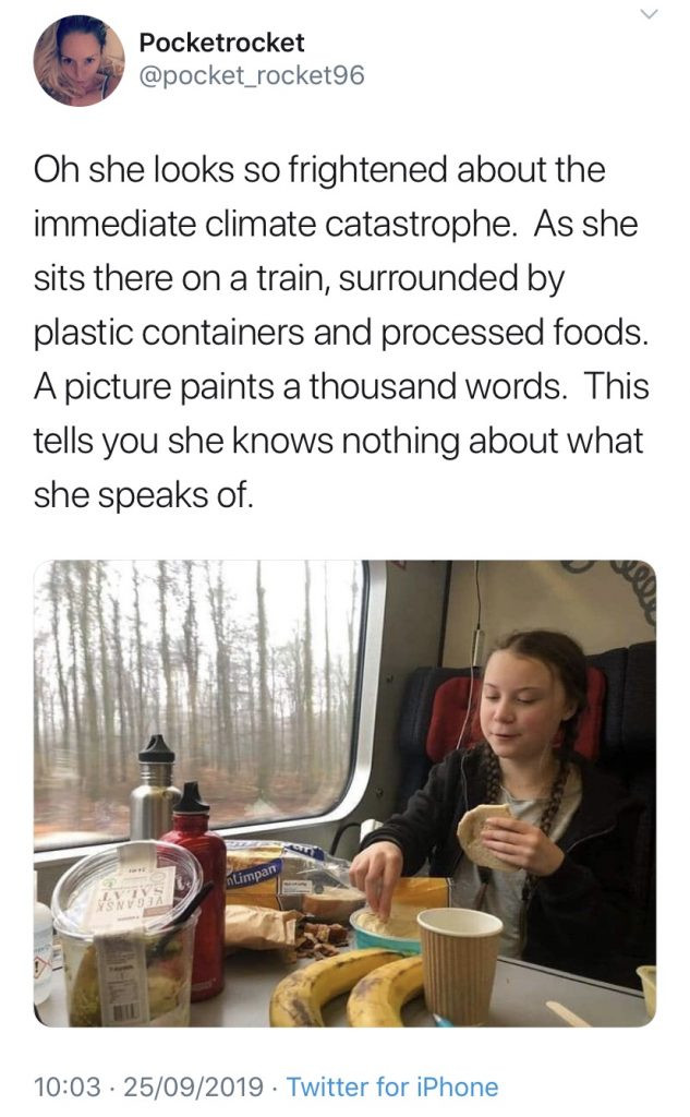 Tweet about Greta Thunberg eating on a train with plastic containers.