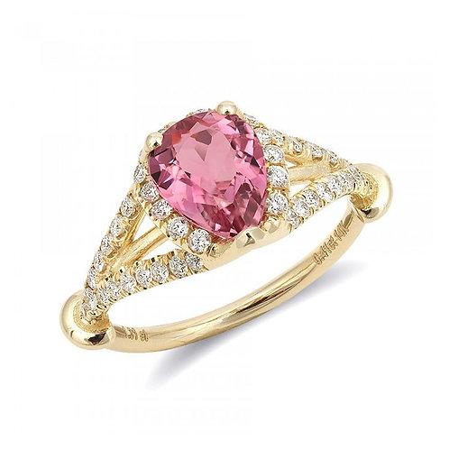 14k Yellow Gold 1.72ct TGW Pink Tourmaline and White Diamond Ring