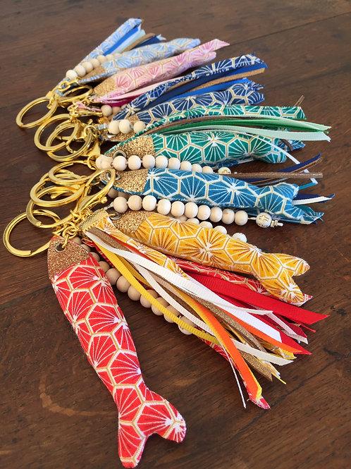 Porte clef dizainier- coloris or- ichthus pailleté