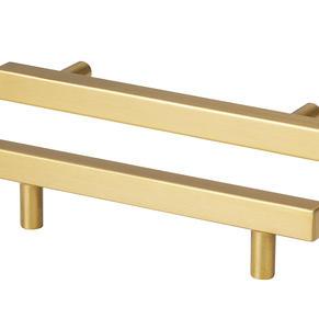 Brushed gold bar handles