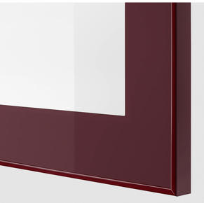 Maroon frame clear glass doors