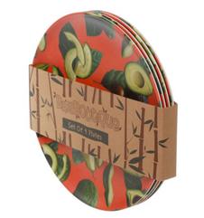 Ensemble 4 Assiettes Réutilisables Composite de Bambou -Avocat ; Boutique Culinaire