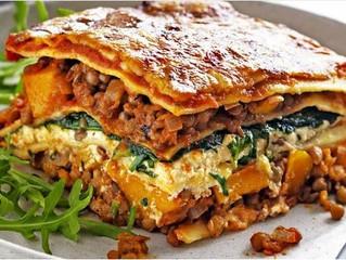 Pumpkin, spinach and lentil lasagna