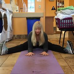 RV Yoga: Doing yoga at laundry