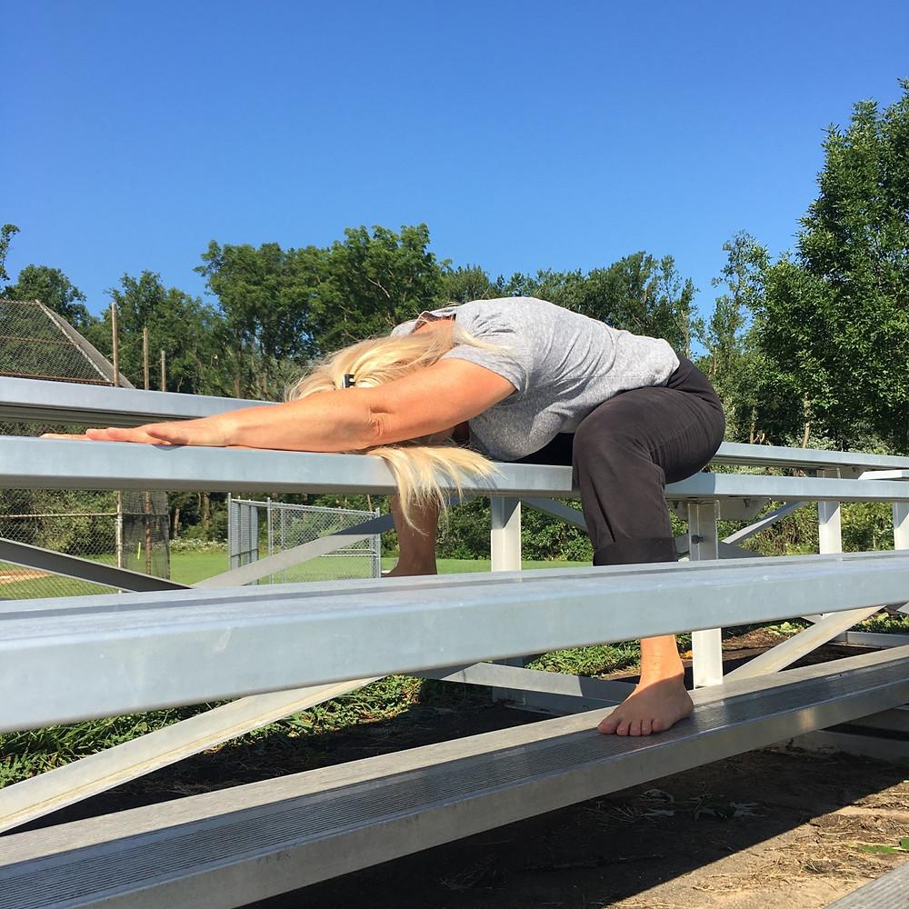 Outdoor Yoga - Using bleachers for yoga practice outside