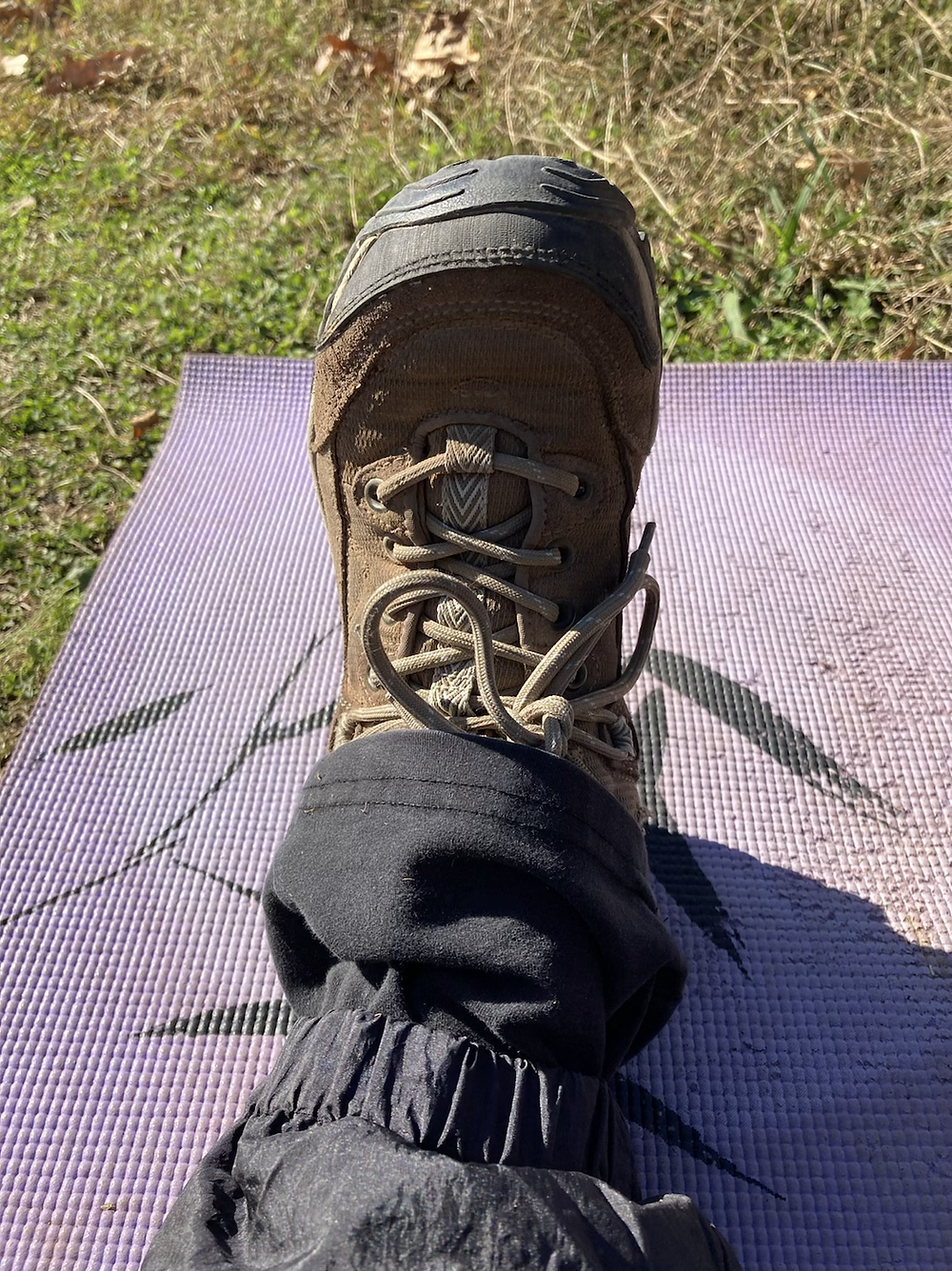 Outdoor Yoga - wearing weather proof pants is a great way to practice yoga outdoors in cold weather