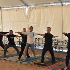 RV Yoga: Men's yoga at RV rally