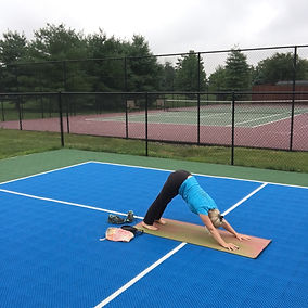 Outdoor Yoga on pickle ball court