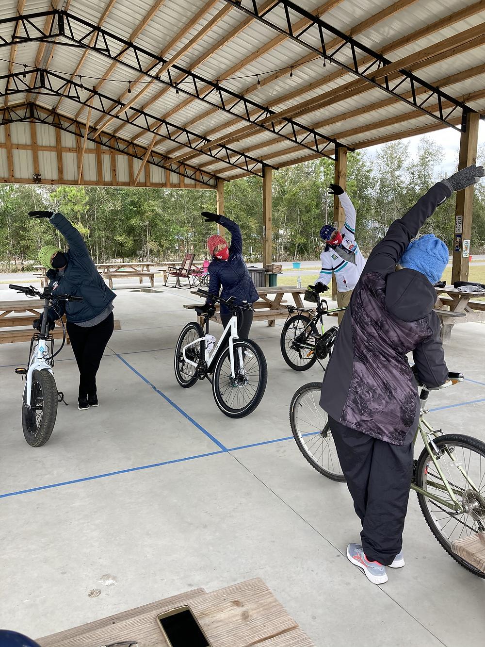 Outdoor yoga: biking stretches