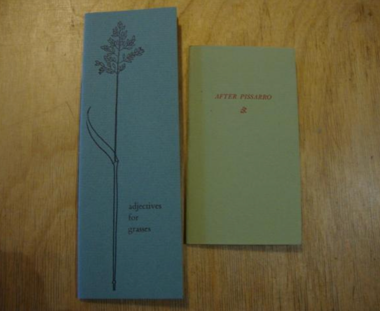 Two long thin books of poetry on a wooden table top. On the left, a blue cover embossed with a plant design entitled 'adjective for grasses, and a slightly smaller green cover bearing the words After Pissarro.