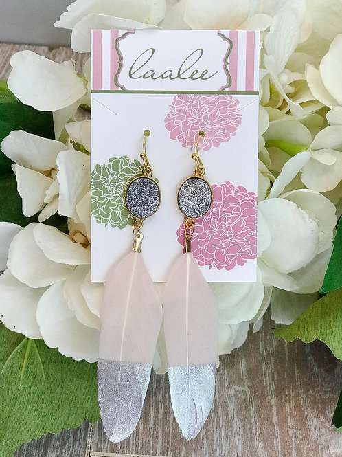 Silver Dipped Silver Druzy Pink Feather Earrings