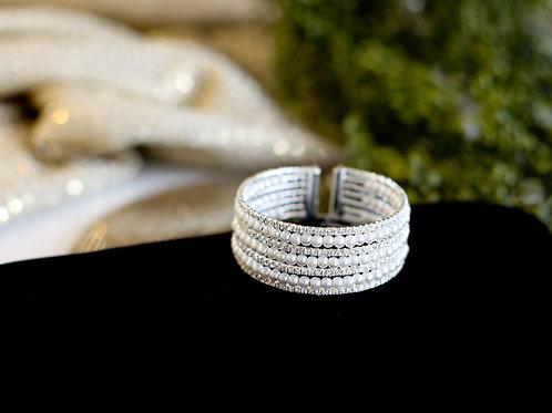 Bena Pearl & Rhinestone Cuff Bracelet