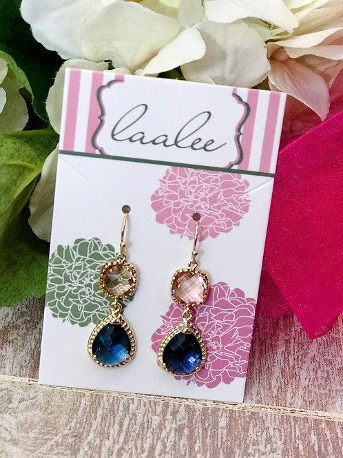 Champagne & Sapphire Gold Earrings