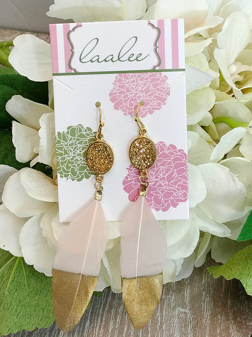 Gold Dipped, Gold Druzy Pink Feather Earrings