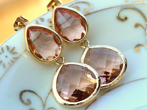 laalee Blush Champagne Two Tier Teardrop Earrings