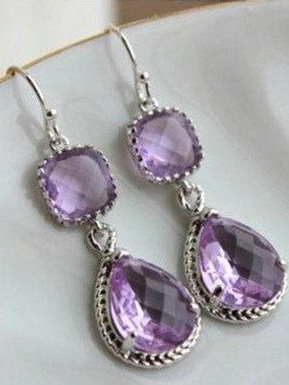 laalee Silver Lavender Lilac Earrings