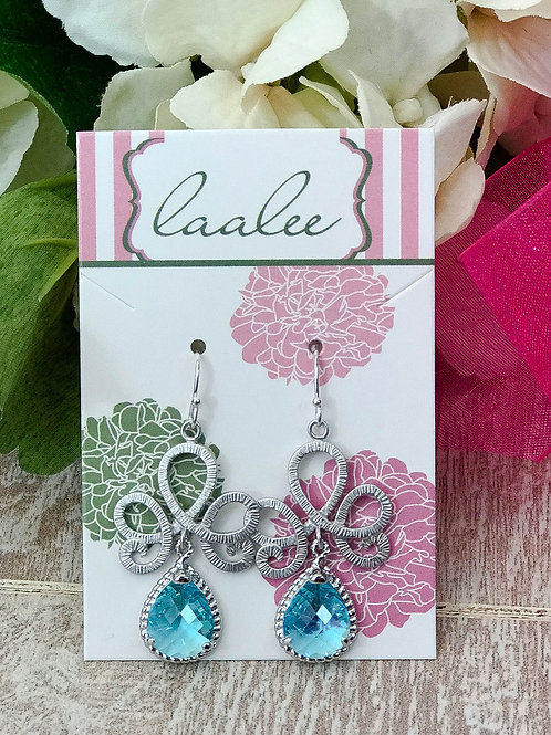Aquamarine Silver Tiara Earrings