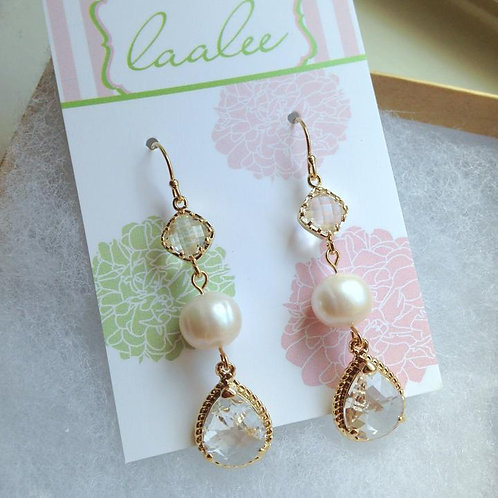 laalee Gold Freshwater Pearl Crystal Earrings