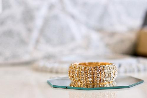Gold  & Rhinestone Stretch Bracelet