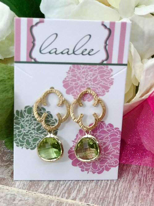 Peridot Gold Clover Earrings
