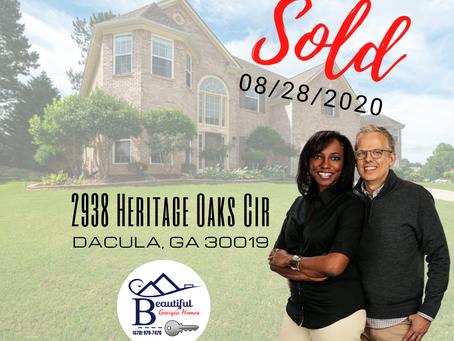 SOLD (8/28/2020):  2938 Heritage Oaks Circle, Dacula Ga 30019