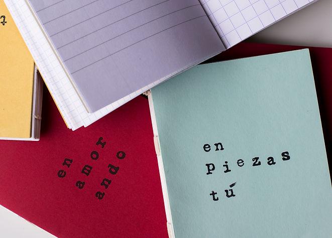 Libretas cosidas a mano poesía visual bonoboletigar