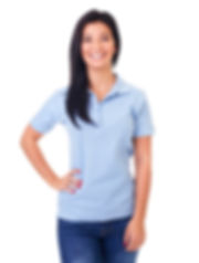 Smiling woman in blue polo shirt on a wh
