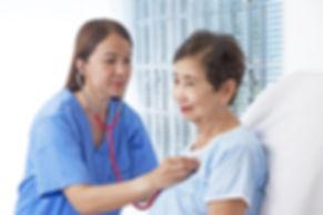 Elderly patient going through medical ch