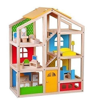 Mega Wooden Dollhouse - House + Furniture + Dolls
