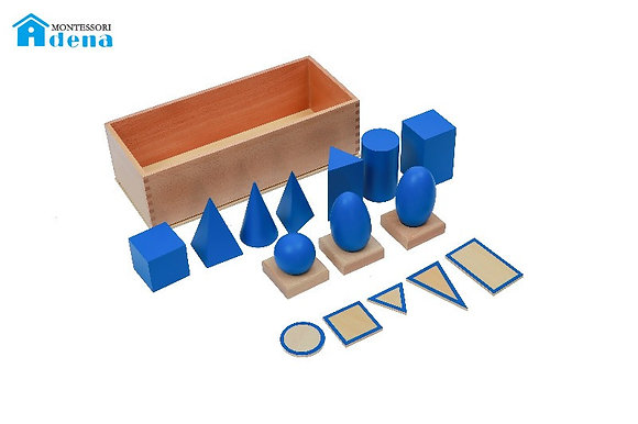 Geometric Solids with Stand, Bases, and Box