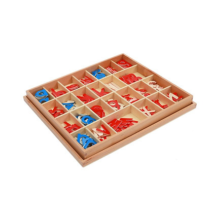 Wood - Small Movable Alphabet (Red & Blue)