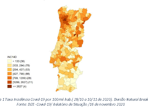 Correlação espacial do COVID-19 em concelhos de Portugal Continental. (Situação em 16/11/2020)