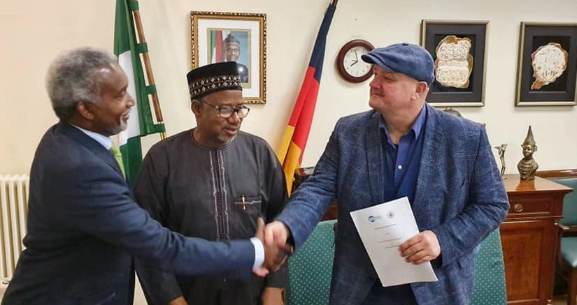 WaterIsRight signing agreement with the Government of Bauchi State at the Embassy of Nigeria in Berlin