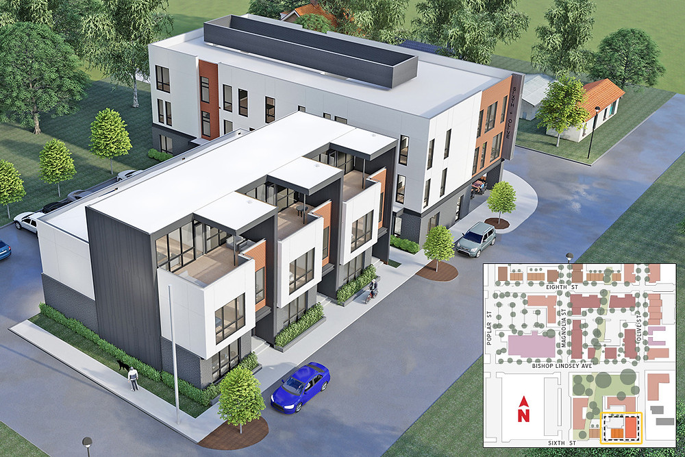 The Sixth & Olive project, featuring three townhomes and an apartment building, is the first piece of a masterplan of possibilities bringing redevelopment to a dormant section of the Argenta neighborhood. Construction is expected to begin before summer. (Taggart Architects)