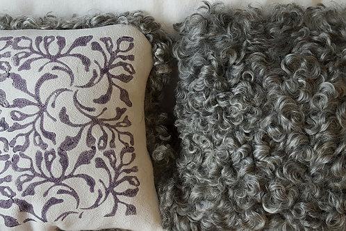 """Sheepskin Pillow - Painted 8"""" x 8"""""""