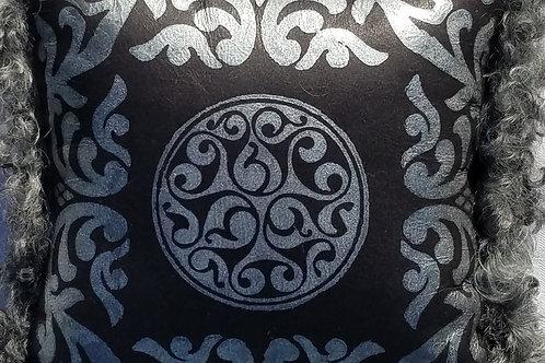 Black & Silver Sheepskin Pillow