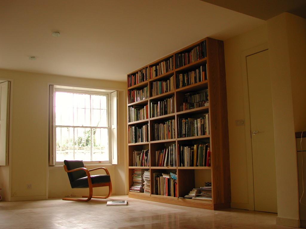 Solid Oak Floor to Ceiling Bookshelf