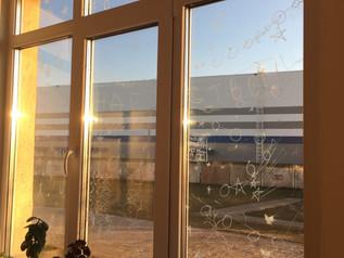 "Конкурс рисунков на окнах ""Зимнее окно"""