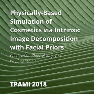 Physically-Based Simulation of Cosmetics via Intrinsic Image Decomposition with Facial Priors