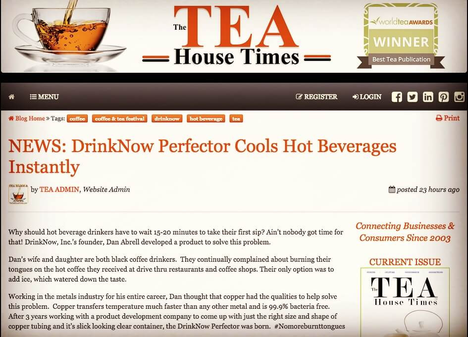 DrinkNow Perfector Tea House Times Article