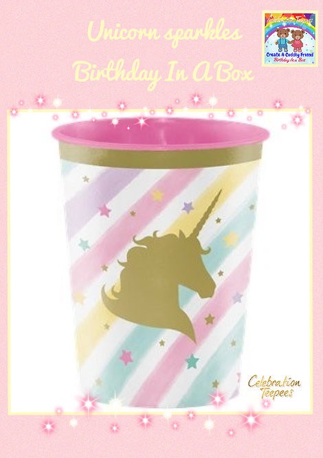 Unicorn Sparkle Plastic Favour Cup - 454ml