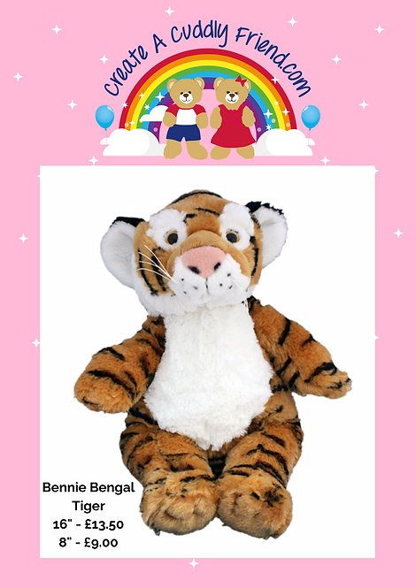 Bennie Bengal Tiger 8 inch Create A Cuddly Friend Package